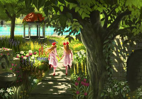 Обои Две девочки в саду
