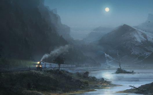 Обои Поезд едет около озера на фоне гор и полной луны в небе