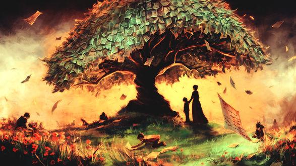 Обои Дерево из исписанных листов бумаги, рядом стоит женщина с маленьким мальчиком, вокруг дети собирают и читают эти страницы, работа Follow Our Rules / Следуйте за нашими правилами художника - иллюстратора AquaSixio