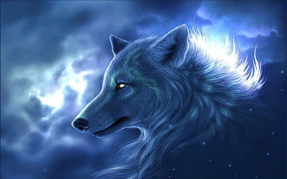 Обои для рабочего стола Волк на фоне облачного неба