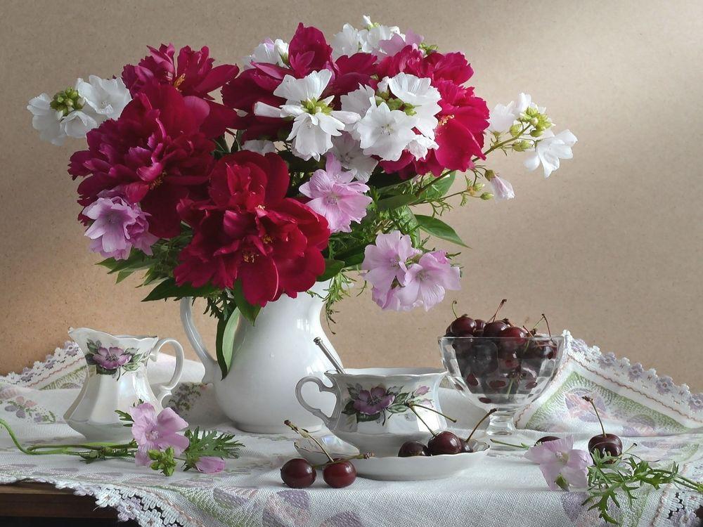 Картинки цветы в вазе на столе, анимация