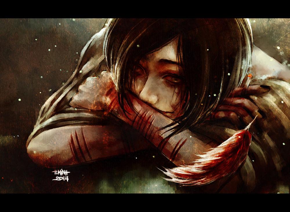 Девушка со шрамами аниме арт