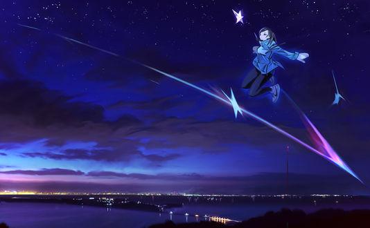 Обои Девушка в небе на фоне ночного города