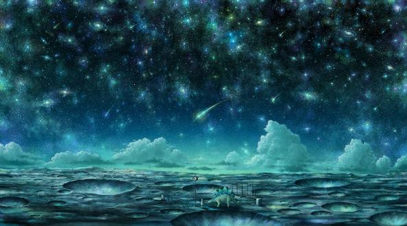 Обои Девушка и динозавр стоят на поверхности какой-то планеты на фоне ночного звездного неба