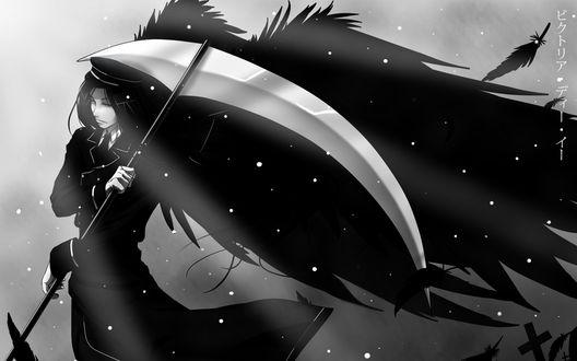 Обои Sebastian Michaelis / Себастьян Михаэлис из аниме Kuroshitsuji / Темный дворецкий с косой и крыльями ангела