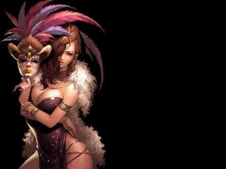 Обои Девушка с маской в руке, by talha122
