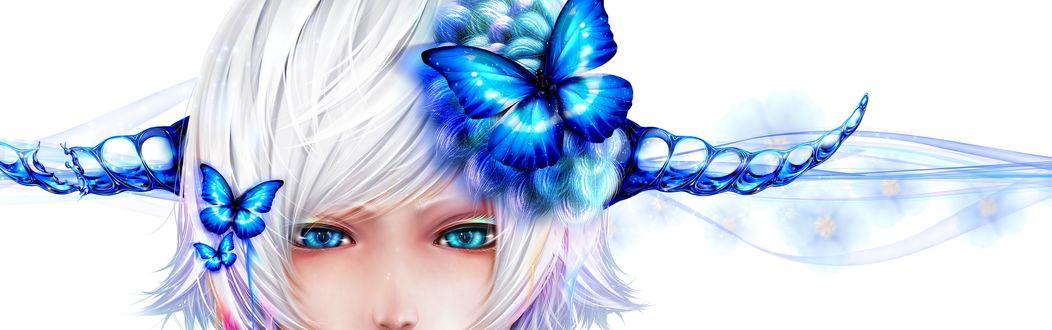Обои Коротковолосая девушка с рожками на голове на которой красуются синие бабочки, автор Bouno Satoshi