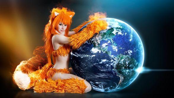 Обои Рыжая бестия захватила планету, косплей на браузер Mozilla Firefox