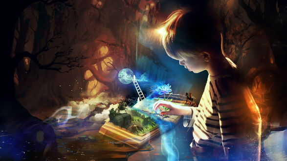 Обои Мальчик, раскрыв книгу видит коллаж состоящий из стоявшего на лестнице человека, прикоснувшегося рукой до планеты, всадника на коне на горном утесе, цветка необычной формы, автор Martina Stipan