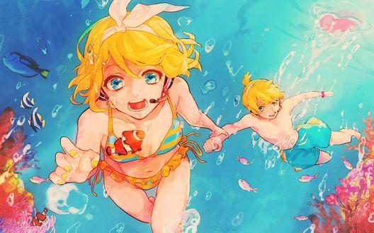 Обои Vocaloid / Вокалоиды Kagamine Len / Кагамине Лен и Kagamine Rin / Кагамине Рин плывут под водой