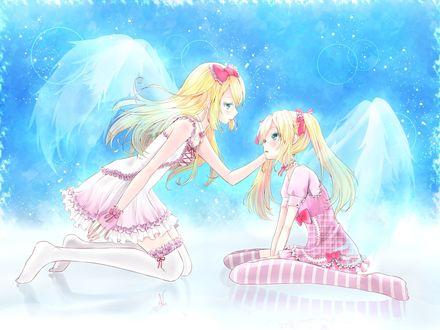Обои Аниме девушки с крыльями сидят друг напротив друга и смотрят друг другу в глаза