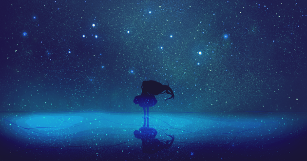 Обои Силуэт девушки, стоящей на зеркальной поверхности на фоне ночного звездного неба
