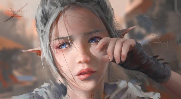 Обои Плачущая девушка-эльф (GHOST BLADE / Призрачное лезвие), art by wlop
