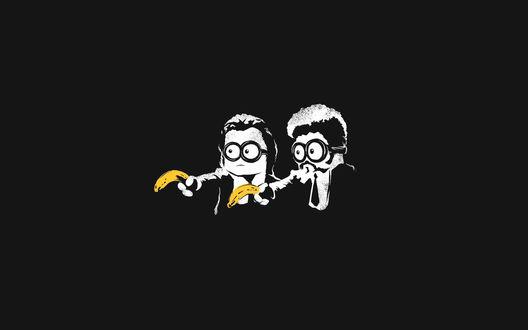 Обои Миньоны из мультика Гадкий Я / Despicable Me с бананами в руках в образе героев из фильма Криминальное чтиво / Pulp Fictionк