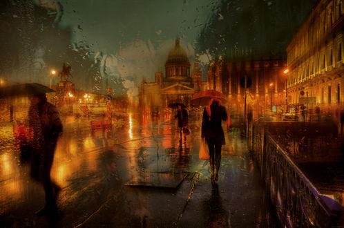 Обои Люди, держащие в руках зонтики, идущие под проливным дождем по ночным улицам Санкт-Петербурга, Россия / Saint-Petersburg, Russia, автор Эдуард Гордеев