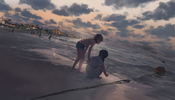 Обои Две девочки играют на пляже
