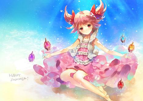Обои Мадока Канамэ / Madoka Kaname и Хомура Акэми / Homura Akemi из аниме Девочка-волшебница Мадока / Mahou Shoujo Madoka Magika (Happy summer! / Счастливое лето!)