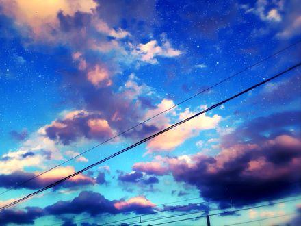 Обои Облачное небо в звездах, автор Asuka