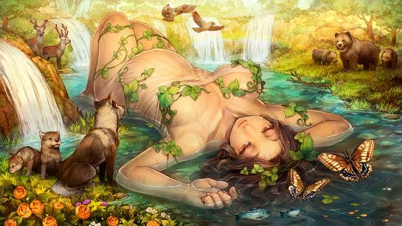 Обои Девушка в мокрой одежде лежащая в воде окруженная животными