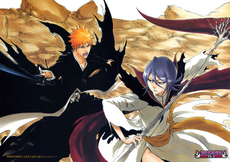 Обои Куросаки Ичиго / Kurosaki Ichigo сражается с одержимой Кучики Рукией / Kuchiki Rukia на фоне пустынного пейзажа, из аниме Bleach / Блич