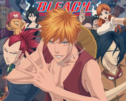 Обои Герои аниме Блич / Bleach изображают персонажей аниме Большой куш / One Piece