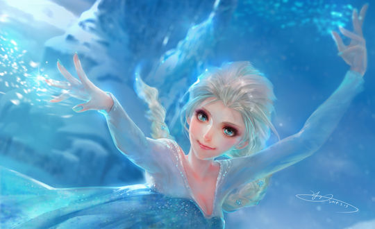 Обои Эльза / Elsa из мультфильма Холодное сердце / Frozen, автор Yu-han