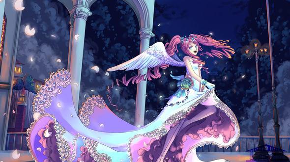 Обои Аниме девушка в платье и скрыльями идет по улице ночью в освещении фонарей, арт by linnil