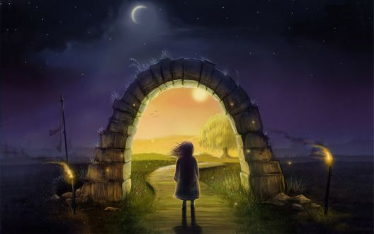 Обои Девочка стоит перед воротами в другой мир, by jerry8448 (Джереми Морелли / Jeremiah Morelli)