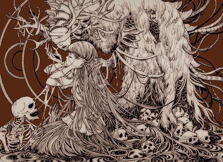 Обои Девушка, над которой склонился демон, сидит среди черепов