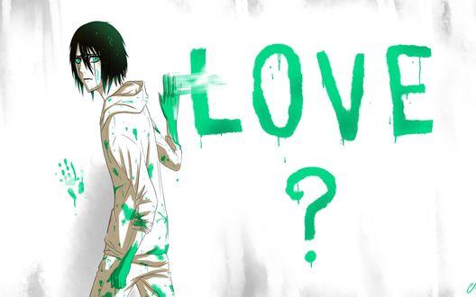 Обои Ulquiorra Cifer / Улькиорра Шифер из аниме Bleach / Блич пишет зеленой краской на стене Love? / Любовь?