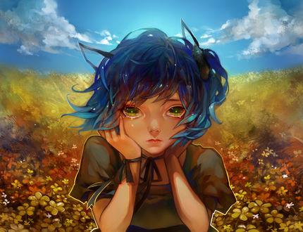 Обои Вокалоид Рене Ями / Vocaloid Ryone Yami, персонаж игры UTAU, на фоне цветов и облачного неба, арт by terrie923