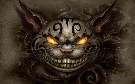 Обои Жуткий чеширский кот со светящимися глазами