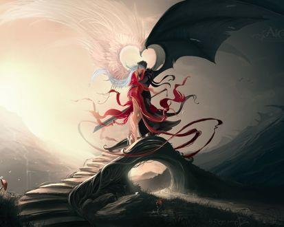 Обои Ангел и демон стоят обнявшись