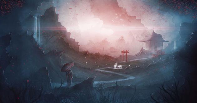 Обои Девушка с зонтом смотрит на призраков оленей, стоящих на дороге, ведущей к дому, художник Aeon-Lux