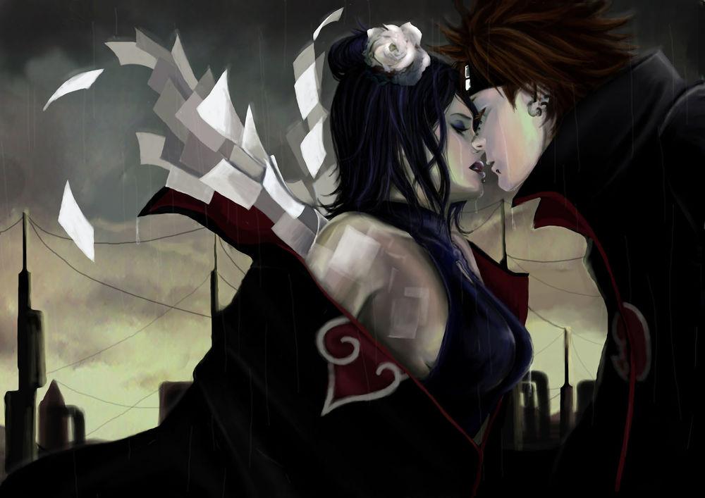 Обои для рабочего стола Конан / Konan и Пейн / Pain из аниме Наруто: Ураганные хроники / Naruto: Shippuuden