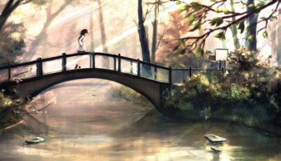 Обои Девушка идет по мосту