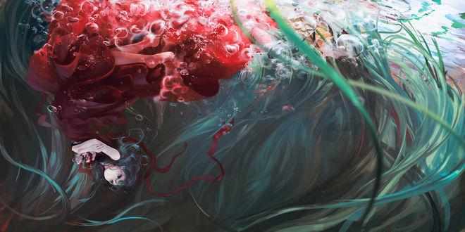 Обои Хина Кагияма / Hina Kagiyama из игры Проект «Восток» / Touhou Project, автор Jq