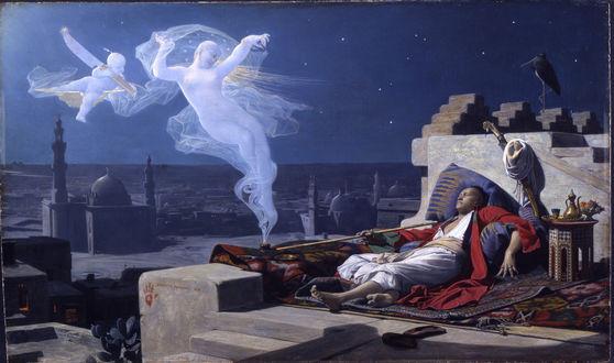 Обои Обкуренный наркотиками мужчина азиатской внешности, лежит на коврах, держит в руке люльку для курения и видит ангелов в своих галлюцинациях, парящих в клубах дыма с его люльки
