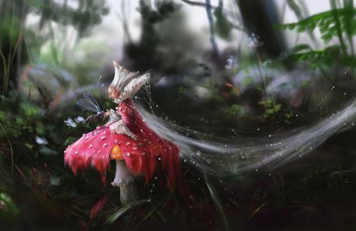 Обои В лесу грибная фея сидит на шляпке гриба, разложив подол платья мухоморной расцветки на нее, и кормит с руки насекомое