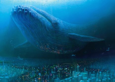 Обои Синий кит плывет над городом