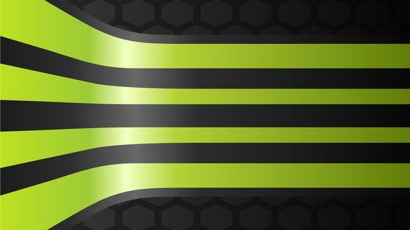Обои Абстракция зеленых линей на черном фоне