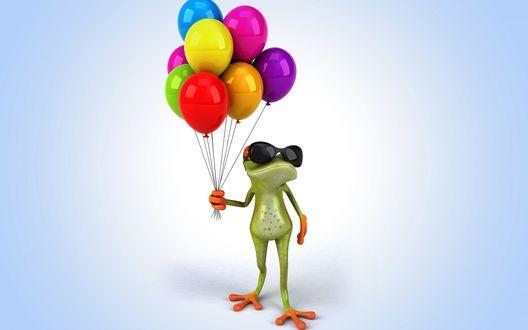 Обои Лягушка в очках стоит с воздушными шарами