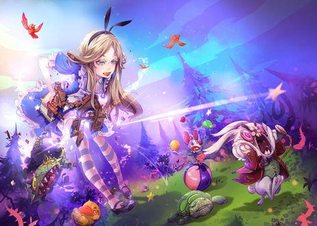 Обои Алиса / Alice из сказки Алиса в стране чудес / Alice's Adventures in Wonderland в стиле аниме