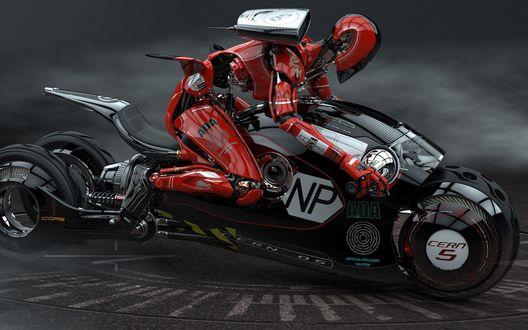 Обои Робот мчится на мотоцикле будущего