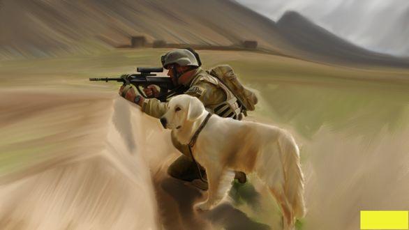 Обои Солдат, присев на колено в окопе, целится с автомата. Рядом стоит пес