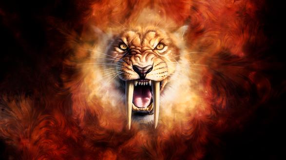 Обои Морда оскалившегося саблезубого тигра в языках пламени