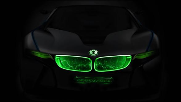 Обои Черная машина BMW, c зеленой неоновой подсветкой передней панели и фар