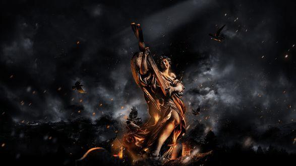 Обои Огненный Ангел с крыльями за спиной стоит и держит в руках крест, среди черного дыма и летящих черных птиц