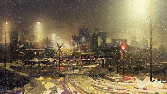 Обои Железнодорожный переезд под падающим снегом