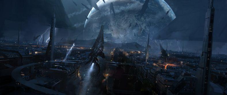 Обои Арт к игре Mass Effect, Жнецы разрушают Цитадель на фоне Земли